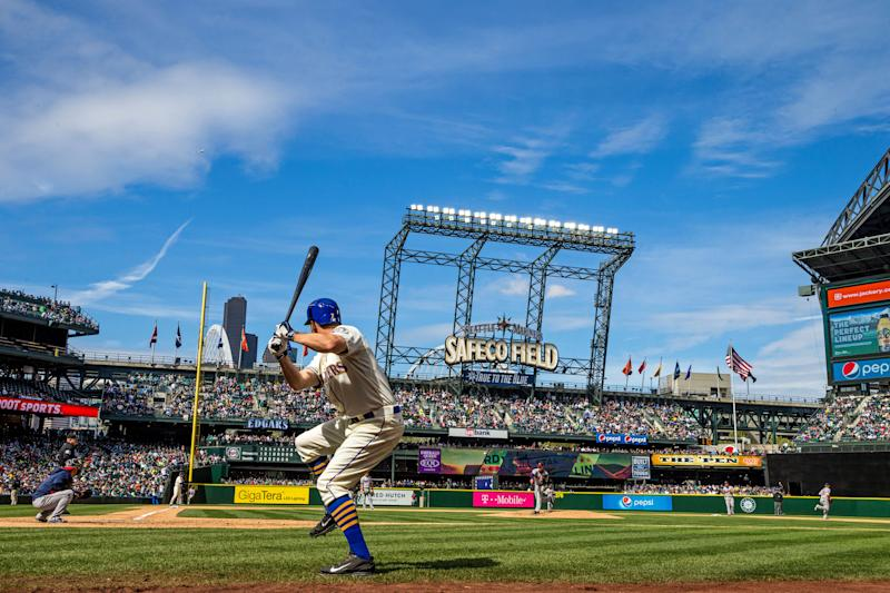 </a> SEATTLE, WA - APRIL 26: A general view of Safeco Field as Seth Smith #7 of the Seattle Mariners swings on-deck against the Minnesota Twins on April 26, 2015 at Safeco Field in Seattle, Washington. The Twins defeated the Mariners 4-2. (Photo by Brace Hemmelgarn/Minnesota Twins/Getty Images)Brace Hemmelgarn Getty Images