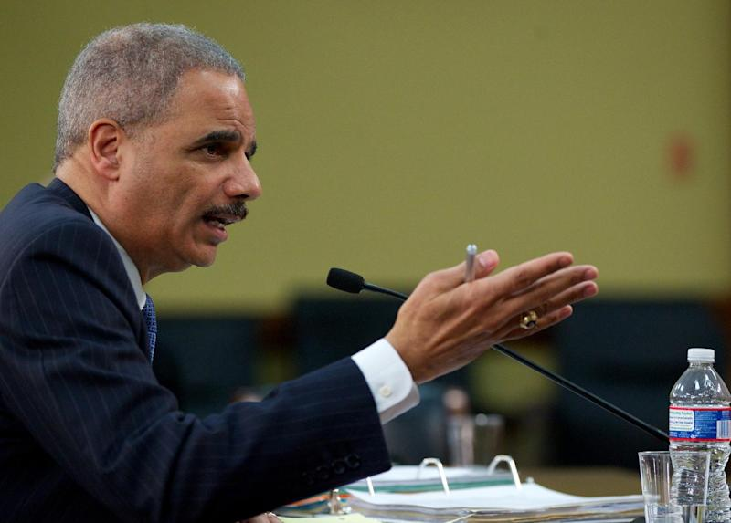 FILE - In this April 18, 2013 file photo, Attorney General Eric Holder testifies on Capitol Hill in Washington. The Justice Department has secretly obtained two months of telephone records of journalists for The Associated Press in what AP's top executive says is an unprecedented intrusion into newsgathering. (AP Photo/Molly Riley, File)