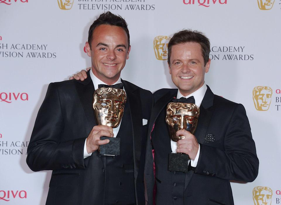 Ant and Dec with award for Ant & Dec's Saturday Night Takeaway in the Awards Room at the Arquiva Bafta TV Awards at The Royal Opera House in London on Sunday, May 18, 2014. (Photo by Jon Furniss/Invision /AP Images)