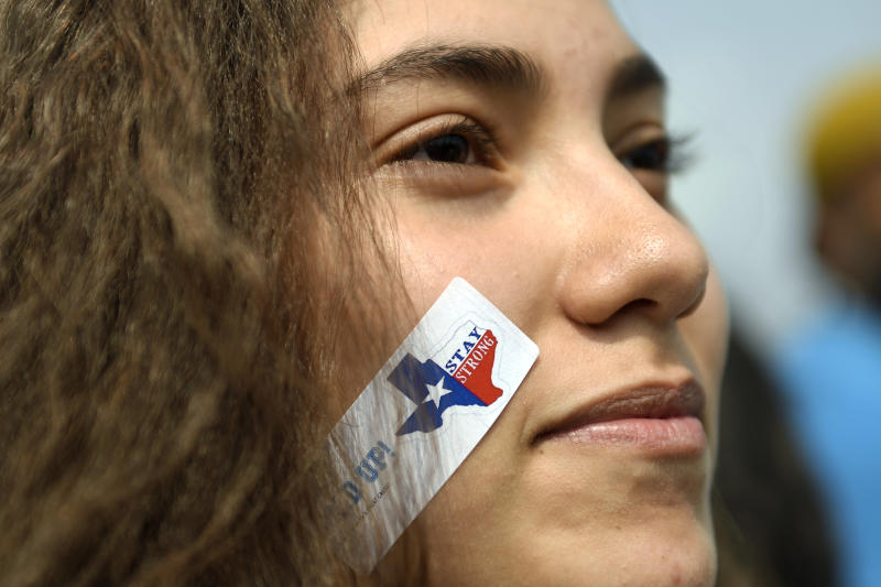 A 10th grader with a 'stay strong' sticker marched with students, immigrants and impacted individuals to Tivoli Quad on Denver's Auraria Campus to defend the Deferred Action for Childhood Arrivals (DACA) program during a city-wide walkout and rally. (Joe Amon via Getty Images)