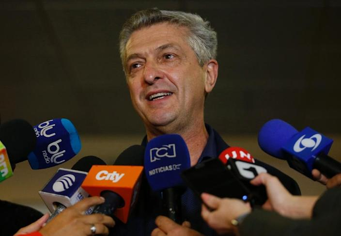 UN High Commissioner for Refugees Filippo Grandi during a visit to Colombia, in Bogota on October 6, 2018 (AFP Photo/John VIZCAINO)