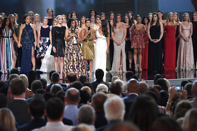 The gymnasts who were assaulted by Larry Nassar won the Arthur Ashe Award for Courage at the 2018 ESPY Awards. (Photo by Phil McCarten/Invision/AP)