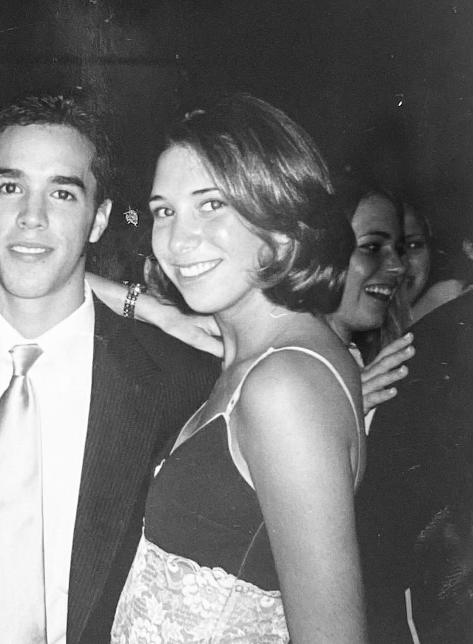"The writer wearing ""the Rachel"" at her senior prom in 1997."
