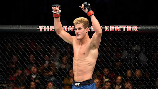 Sage Northcutt celebrates after finishing three rounds against Michel Quinones in their lightweight bout on Nov. 11, 2017 in Norfolk, Virginia. (Getty Images)
