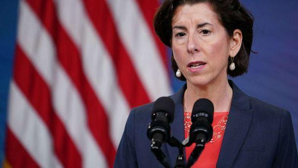 PHOTO: Commerce Secretary Gina Raimondo speaks at an event in the South Court Auditorium of the Eisenhower Executive Office Building on June 3, 2021. (Mandel Ngan/AFP via Getty Images)