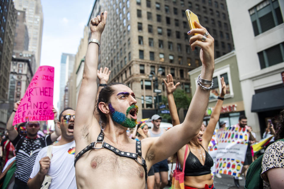 Amid Iravanipour rallies at the Queer Liberation March on Sunday, June 27, 2021, in New York. (AP Photo/Brittainy Newman)