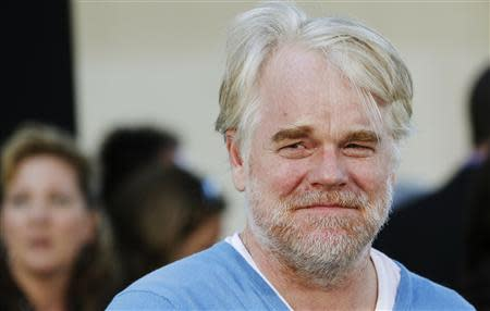 """File photo of actor Hoffman arriving for the world premiere of the film """"Moneyball"""" in Oakland"""