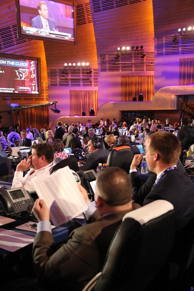 Teams prepare in Radio Music Hall for the NFL Draft 2014 on Thursday May 8th, 2014 in New York. (Jamie Herrmann/AP Images)
