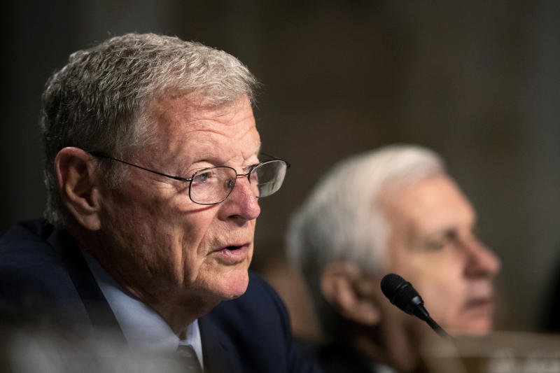 Senate Armed Services Committee Chairman Sen. James Inhofe, R-Okla., with ranking member Sen. Jack Reed, D-R.I., right, questions Secretary of the Army and Secretary of Defense nominee Mark Esper during his confirmation hearing on Capitol Hill in Washington, Tuesday, July 16, 2019. (AP Photo/Manuel Balce Ceneta)