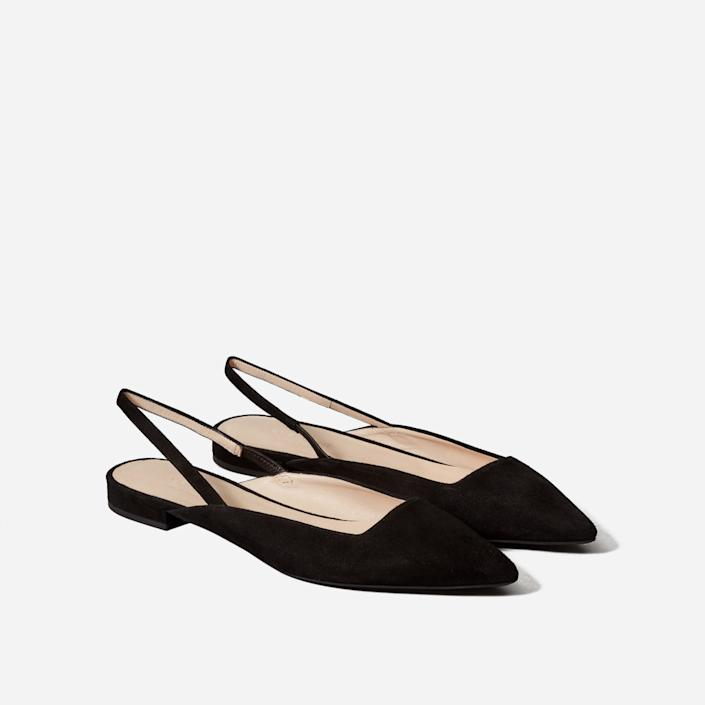Everlane Slingback in Black Suede