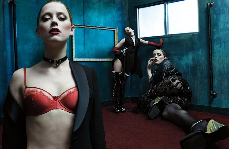 From left: Giorgio Armani jacket; Carine Gilson bra; Repossi earring; Zana Bayne collar necklace (throughout); Heard's own stud earring (throughout). Dior vest; Deborah Marquit bra and briefs; (right ear) Repossi earring; (left ear) Jack Vartanian earring; Perrin Paris gloves; Alexander McQueen boots. Saint Laurent by Hedi Slimane jacket; Donna Karan New York gown; Agent Provocateur briefs; Prada wedges.