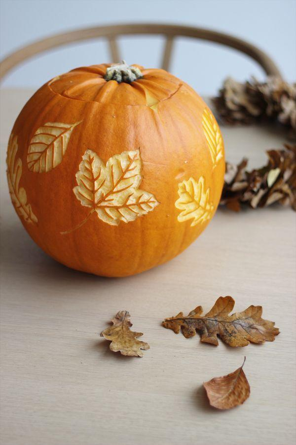 """<p>Double your autumn decor with this leaf design. To make, use a small knife, which allows you to gently press into the outer layer of the pumpkin and create """"leaves."""" </p><p><strong>Get the tutorial at <a href=""""http://www.scandinavianlovesong.com/2017/10/halloween-pumpkin-with-autumn-leaves.html"""" rel=""""nofollow noopener"""" target=""""_blank"""" data-ylk=""""slk:Scandinavian Love Song"""" class=""""link rapid-noclick-resp"""">Scandinavian Love Song</a>.</strong></p><p><strong><a class=""""link rapid-noclick-resp"""" href=""""https://go.redirectingat.com?id=74968X1596630&url=https%3A%2F%2Fwww.walmart.com%2Fsearch%2F%3Fquery%3Dcraft%2Bknives&sref=https%3A%2F%2Fwww.thepioneerwoman.com%2Fhome-lifestyle%2Fcrafts-diy%2Fg36982763%2Fpumpkin-carving-ideas%2F"""" rel=""""nofollow noopener"""" target=""""_blank"""" data-ylk=""""slk:SHOP CRAFT KNIVES"""">SHOP CRAFT KNIVES</a><br></strong></p>"""