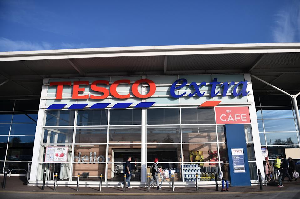 STOKE-ON-TRENT-ENGLAND - NOVEMBER 22: The shop front of supermarket chain Tesco is seen on November 22, 2020 in Stoke-on-Trent, England . (Photo by Nathan Stirk/Getty Images)