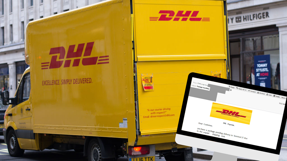 Beware of this phishing email that appears to be from DHL. (Source: Getty, MailGuard)