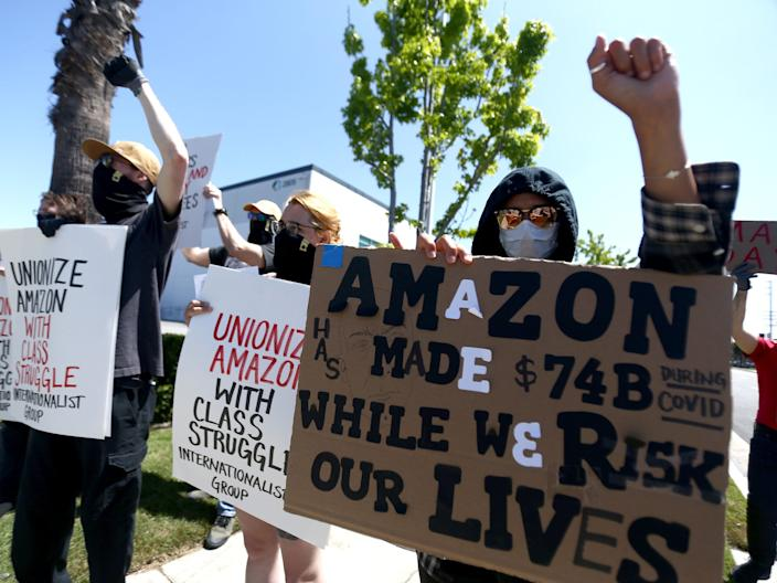 Amazon workers protesting the company's policies during the coronavirus pandemic on May 1 in Hawthorne, California.