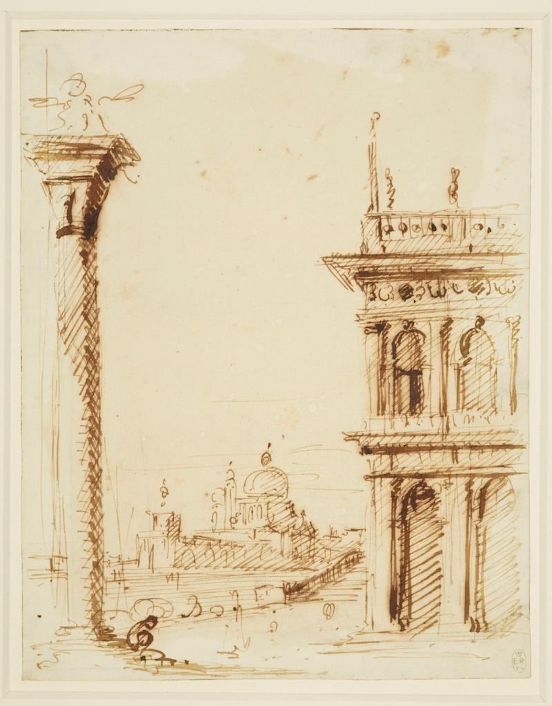 Drawing of The piazzetta looking towards Santa Maria della Salute c.1723-4 - Credit: Royal Collection Trust