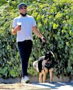 <p>Zachary Quinto grabs a coffee on Friday during a walk with his dog in Los Angeles.</p>
