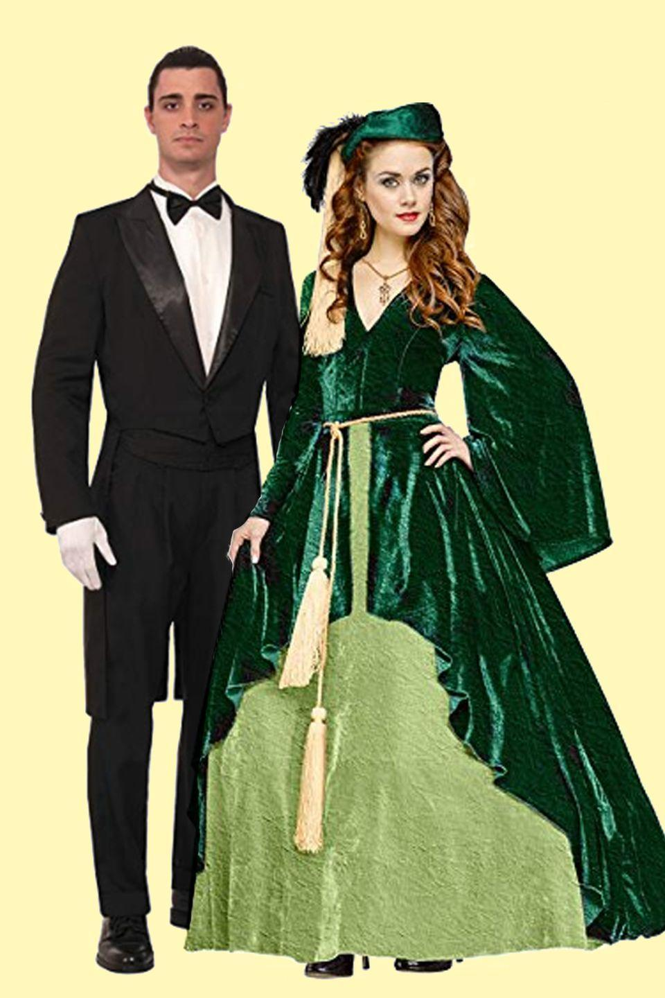 """<p>Dressing up as Vivien Leigh from <em><a href=""""https://www.amazon.com/Gone-Wind-Clark-Gable/dp/B002W7DSLW/?tag=syn-yahoo-20&ascsubtag=%5Bartid%7C10055.g.2625%5Bsrc%7Cyahoo-us"""" rel=""""nofollow noopener"""" target=""""_blank"""" data-ylk=""""slk:Gone With The Wind"""" class=""""link rapid-noclick-resp"""">Gone With The Wind</a></em> gives you the perfect reason to bust out your feather boat <em>and</em> strut around in gorgeous retro curls.</p><p><a class=""""link rapid-noclick-resp"""" href=""""https://www.amazon.com/Very-Last-Shop-Scarlett-Custom-Made/dp/B07BQKTLHC/?tag=syn-yahoo-20&ascsubtag=%5Bartid%7C10055.g.2625%5Bsrc%7Cyahoo-us"""" rel=""""nofollow noopener"""" target=""""_blank"""" data-ylk=""""slk:SHOP SCARLETT O'HARA COSTUME"""">SHOP SCARLETT O'HARA COSTUME</a></p><p> <a class=""""link rapid-noclick-resp"""" href=""""https://www.amazon.com/Forum-Novelties-Vintage-Hollywood-Tailcoat/dp/B00IVV1SWE?tag=syn-yahoo-20&ascsubtag=%5Bartid%7C10055.g.2625%5Bsrc%7Cyahoo-us"""" rel=""""nofollow noopener"""" target=""""_blank"""" data-ylk=""""slk:SHOP RHETT BUTLER COSTUME"""">SHOP RHETT BUTLER COSTUME</a></p>"""