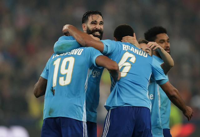 Soccer Football - Europa League Semi Final Second Leg - RB Salzburg v Olympique de Marseille - Red Bull Arena, Salzburg, Austria - May 3, 2018 Marseille's Adil Rami and team mates celebrate after the match REUTERS/Lisi Niesner