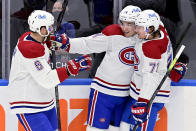 Montreal Canadiens defenseman Shea Weber (6) celebrates a goal with teammates Nick Suzuki (14) and Tyler Toffoli (73) during the first period of an NHL hockey game against the Toronto Maple Leafs Wednesday, Jan. 13, 2021 in Toronto. (Frank Gunn/The Canadian Press via AP)