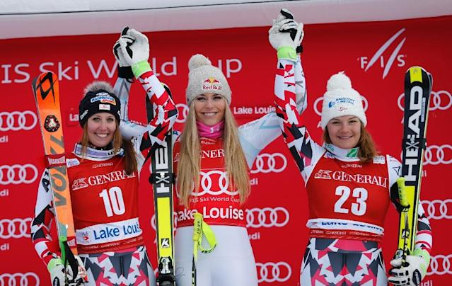 (L-R) Runner-up Corneila Huetter, winner Lindsey Vonn and third-placed Ramona Siebenhofer celebrate on the podium at the downhill Ski World Cup 2015-2016 at Lake Louise, Alberta on December 4, 2015 (AFP Photo/)