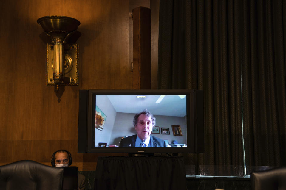 Sen. Sherrod Brown, D-Ohio, speaks during a video connection before a Senate Banking, Housing, and Urban Affairs Committee nomination hearing for Brian Miller to be Department of the Treasury Special Inspector General for Pandemic Recovery and Dana Wade to be Assistant Secretary of Housing and Urban Development on Capitol Hill in Washington, Tuesday, May 5, 2020. (Salwan Georges/The Washington Post via AP, Pool)