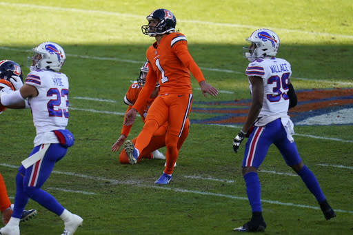 Denver Broncos kicker Taylor Russolino looks on as misses a field goal attempt during the first half of an NFL football game against the Buffalo Bills, Saturday, Dec. 19, 2020, in Denver. (AP Photo/Jack Dempsey)