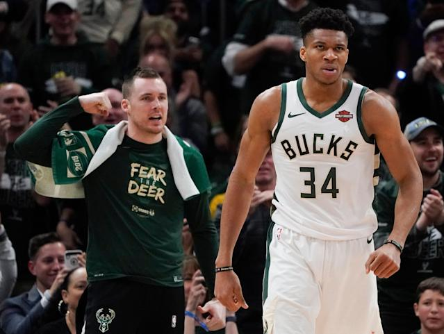 Milwaukee Bucks' Giannis Antetokounmpo reacts after being fouled during the second half of Game 2 of the NBA Eastern Conference basketball playoff finals against the Toronto Raptors Friday, May 17, 2019, in Milwaukee. The Bucks won 125-103 to take a 2-0 lead in the series. (AP Photo/Morry Gash)