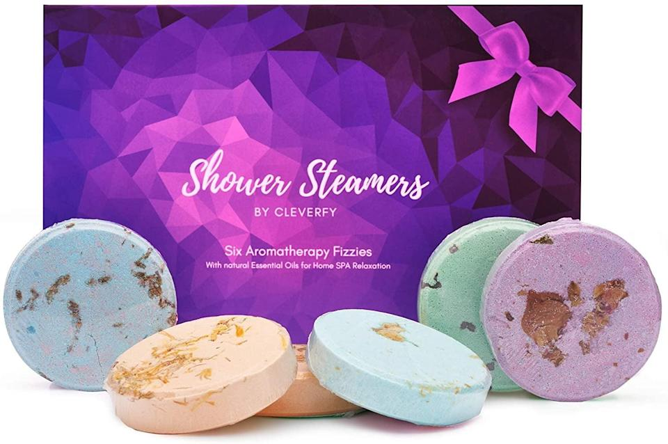 <p>Toss in the <span>Cleverfy Aromatherapy Shower Steamers. </span> ($18) for an aromatic experience. It comes in lavender, menthol and eucalyptus, vanilla, watermelon, grapefruit, and peppermint.</p>