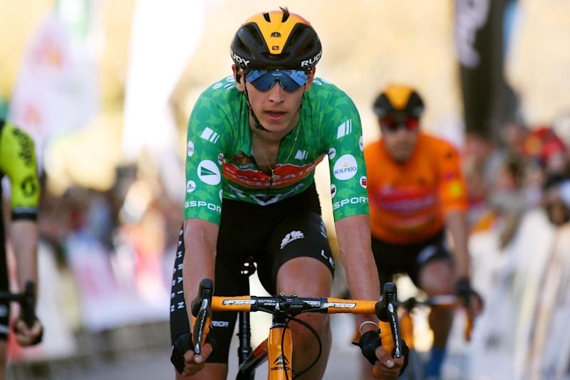 BEDA SPAIN FEBRUARY 21 Arrival Dylan Teuns of Belgium Team Bahrain McLaren Green Points Jersey during the 66th Vuelta a Andaluca Ruta del Sol 2020 Stage 3 a 1769km stage from Jan to beda 727m VCANDALUCIA UCIProSeries on February 21 2020 in beda Spain Photo by David RamosGetty Images