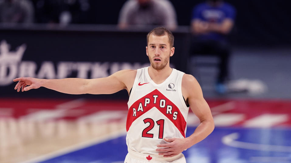 Toronto Raptors guard Matt Thomas plays during the second half of an NBA basketball game, Wednesday, March 17, 2021, in Detroit. (AP Photo/Carlos Osorio)