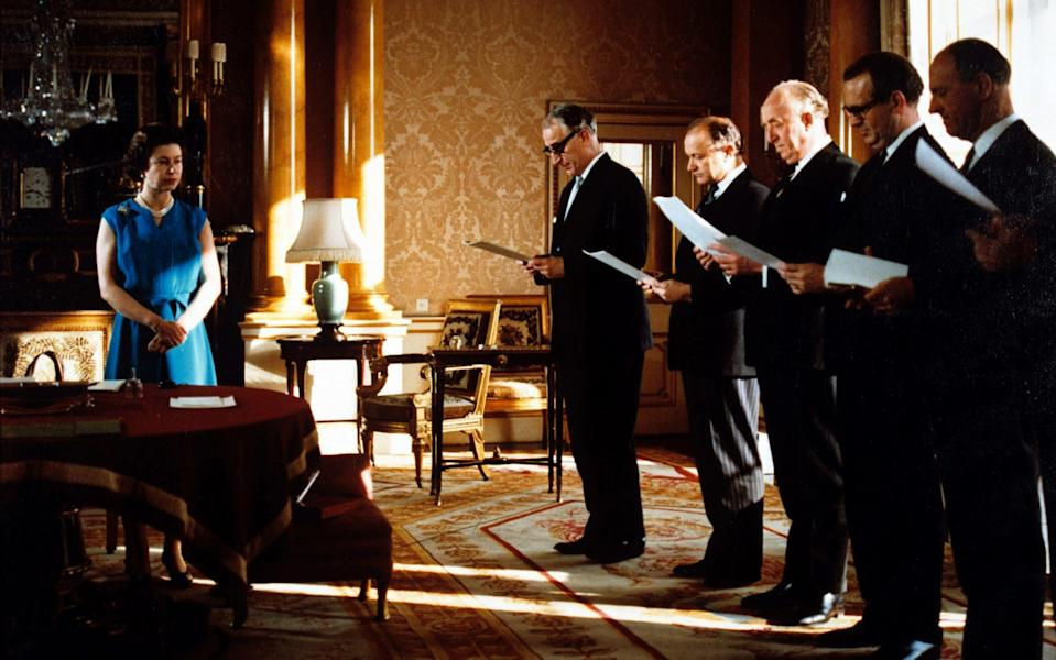 The Queen with her privy council in the 1968 documentary - Rex