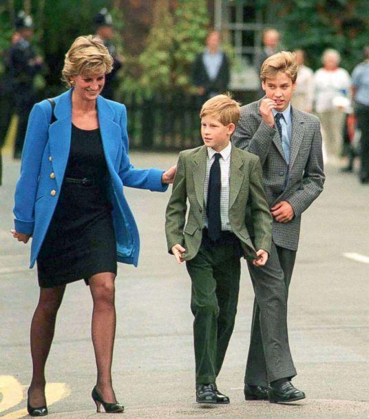 PHOTO: Princess Diana, Prince Harry and Prince William arrive at Eton College for William's first day of school, Sept. 16, 1995, in Windsor, England. (Anwar Hussein/Getty Images)
