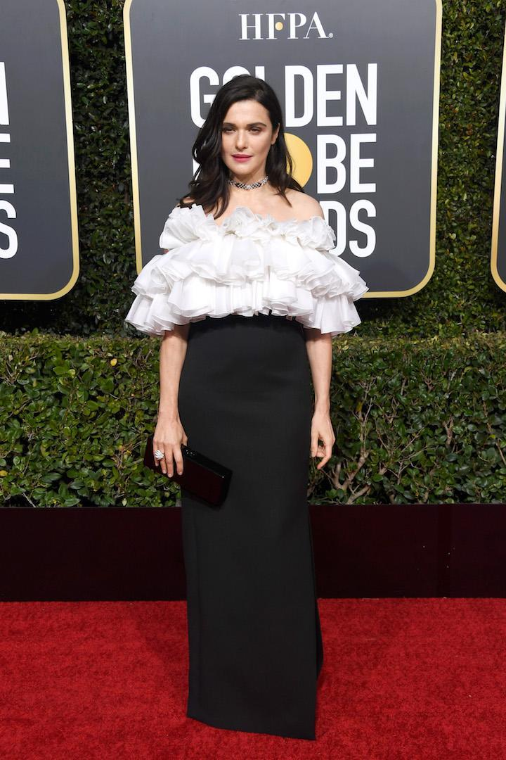 <p>Rachel Weisz chose new era Céline ruffles for the 2019 Golden Globe Awards and stole our hearts in the process. <em>[Photo: Getty]</em> </p>
