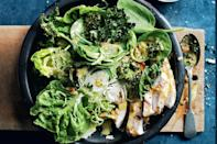 """Craving a big salad after that feast? Forget croutons: crispy kale adds all the satisfying crunch you need. Just skip the chicken and use leftover turkey instead. <a href=""""https://www.epicurious.com/recipes/food/views/chicken-caesar-salad-with-crispy-kale?mbid=synd_yahoo_rss"""" rel=""""nofollow noopener"""" target=""""_blank"""" data-ylk=""""slk:See recipe."""" class=""""link rapid-noclick-resp"""">See recipe.</a>"""
