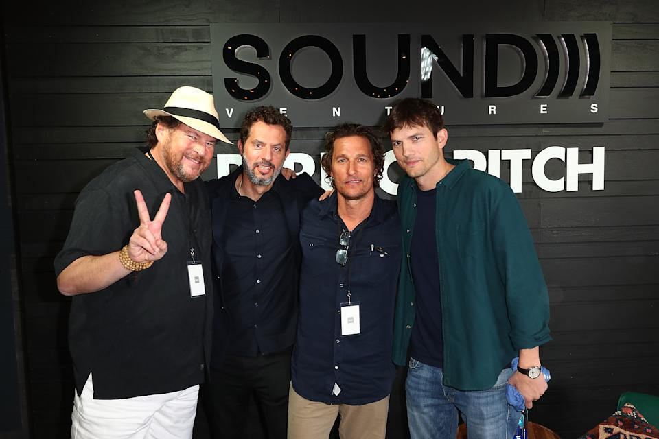 AUSTIN, TX - MARCH 10:  (L-R) Marc Benioff, Guy Oseary, Matthew McConaughey and Ashton Kutcher pose for a photo at the the Sound Ventures Tech Competition, PerfectPitch, at SXSW at Hotel Van Zandt on March 10, 2018 in Austin, Texas.  (Photo by Joe Scarnici/Getty Images for Sound )