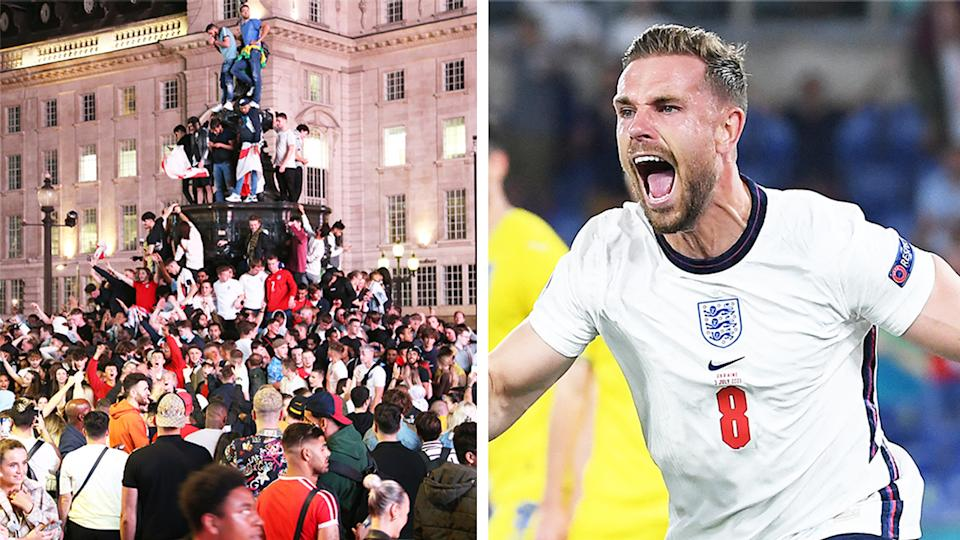 Jordan Henderson (pictured right) scoring for England and (pictured left) English fans celebrating in Piccadilly Circus.
