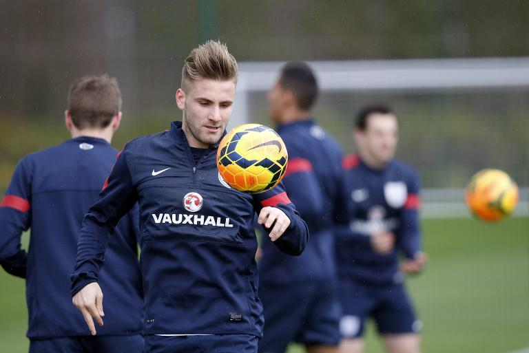 England defender Luke Shaw controls the ball during a training session at Tottenham Hotspur's training complex in Enfield, north London, on March 3, 2014