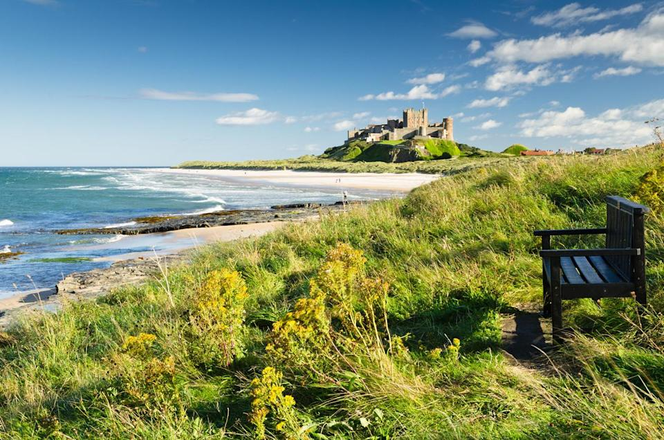 Bamburgh beach with a view to the castle: Getty
