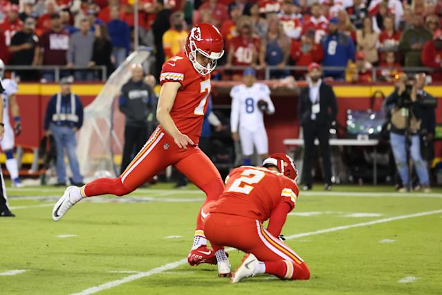 "<a class=""link rapid-noclick-resp"" href=""/nfl/players/30346/"" data-ylk=""slk:Harrison Butker"">Harrison Butker</a> must be on point for the Chiefs as <a class=""link rapid-noclick-resp"" href=""/nfl/players/30123/"" data-ylk=""slk:Patrick Mahomes"">Patrick Mahomes</a> deals with injury. (Photo by Scott Winters/Icon Sportswire via Getty Images)"