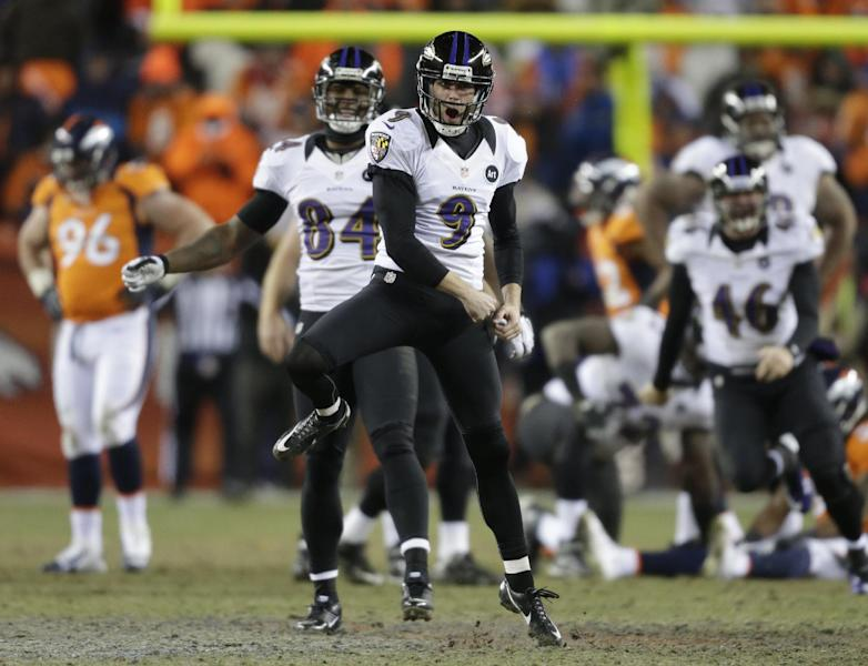 Baltimore Ravens kicker Justin Tucker (9) reacts after hitting the winning field goal against the Denver Broncos in overtime of an AFC divisional playoff NFL football game, Saturday, Jan. 12, 2013, in Denver. The Ravens won 38-35. (AP Photo/Joe Mahoney)