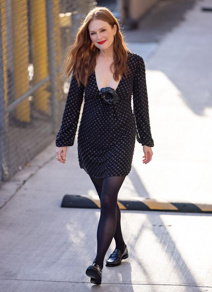 <p>Julianne Moore turns it out on Sept. 22 for a visit to <em>Jimmy Kimmel Live! </em>in L.A.</p>