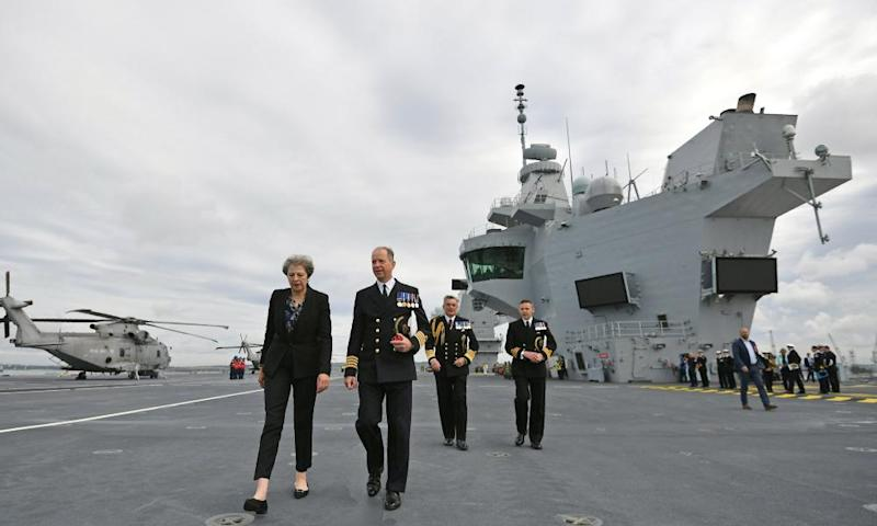 Theresa May on the deck of the aircraft carrier HMS Queen Elizabeth