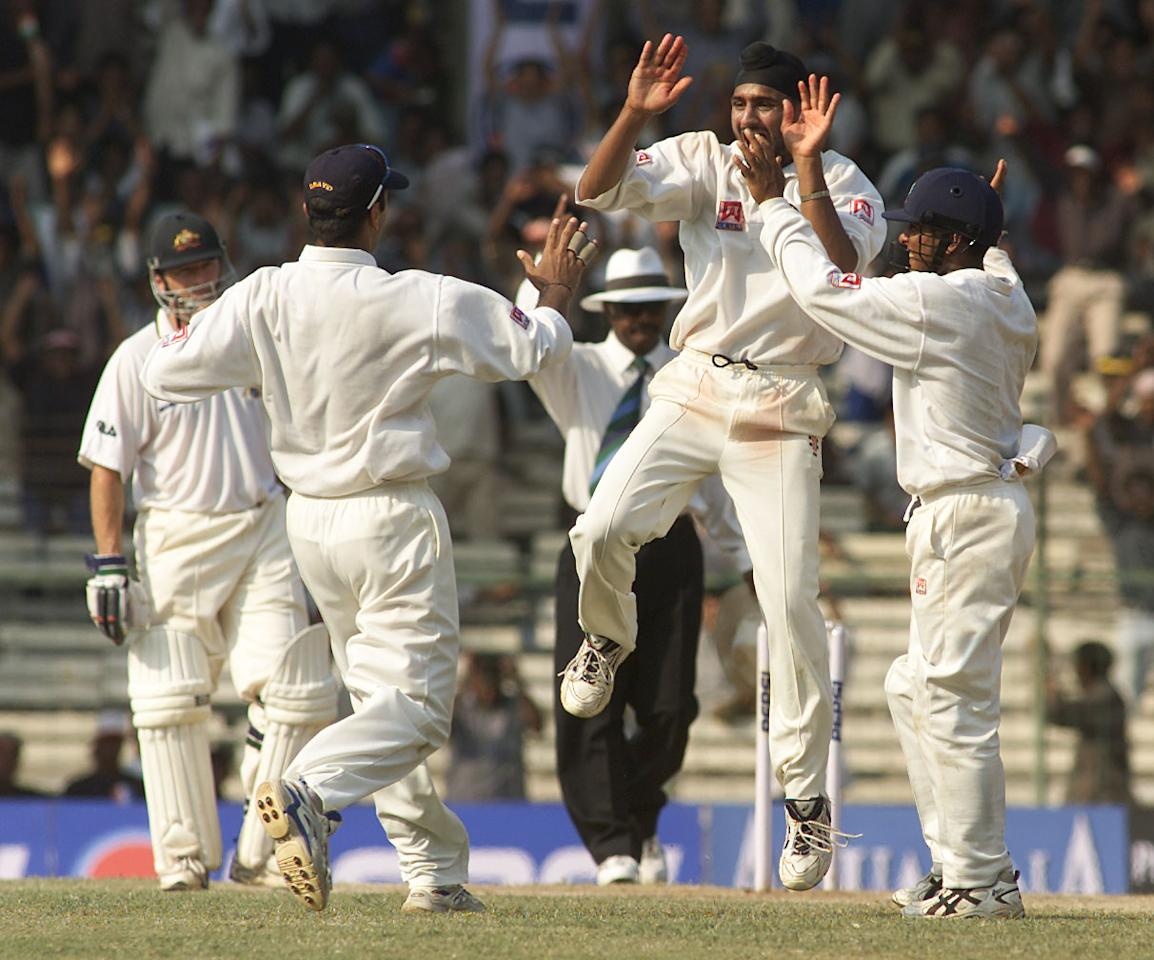 21 Mar 2001:  Harbhajan Singh of India celebrates after dismissing Ricky Ponting of Australia for 11, during day four of the third test between India and Australia at the M.A. Chidambaram Stadium, Chennai, India. X DIGITAL IMAGE  Mandatory Credit: HamishBlair/ALLSPORT