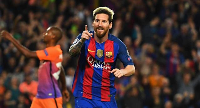 "<a class=""link rapid-noclick-resp"" href=""/soccer/players/lionel-messi"" data-ylk=""slk:Lionel Messi"">Lionel Messi</a> celebrates his third in <a class=""link rapid-noclick-resp"" href=""/soccer/teams/barcelona/"" data-ylk=""slk:Barcelona"">Barcelona</a>'s 4-0 thrashing of Man City. (Getty Images)"