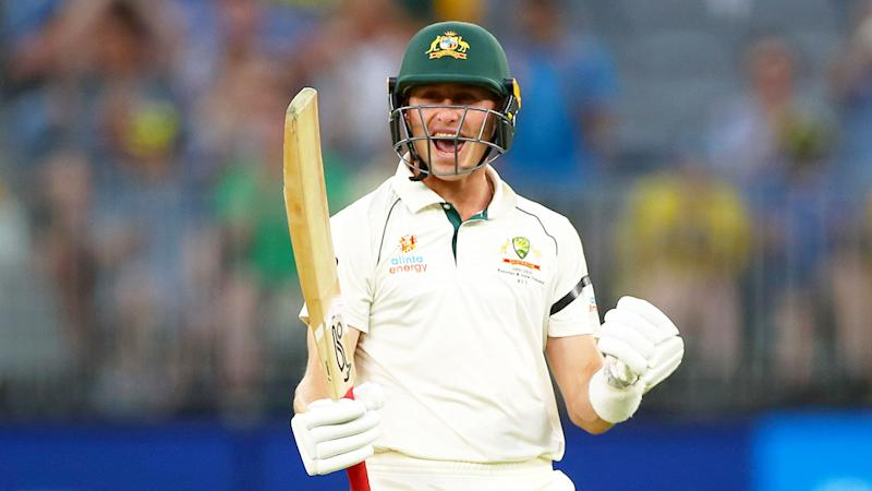 Pictured here, Marnus Labuschagne celebrates against New Zealand after hitting a third straight ton.