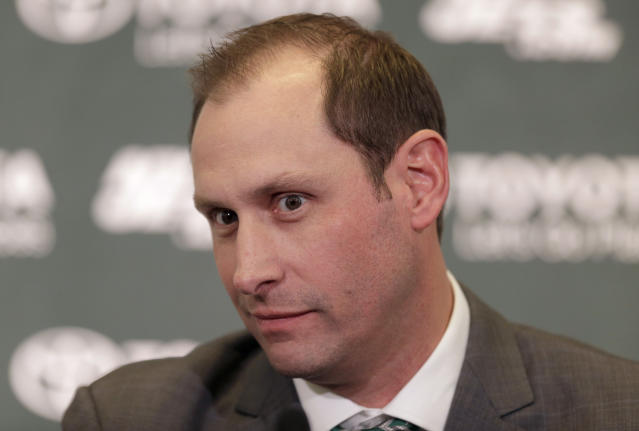 Adam Gase was introduced as Jets head coach on Monday, and so were his wide, intense eyes. (AP Photo/Seth Wenig)