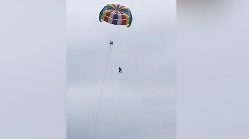 The 71-year-old could be seen struggling before he came detached from his harness. Source: Viral Press