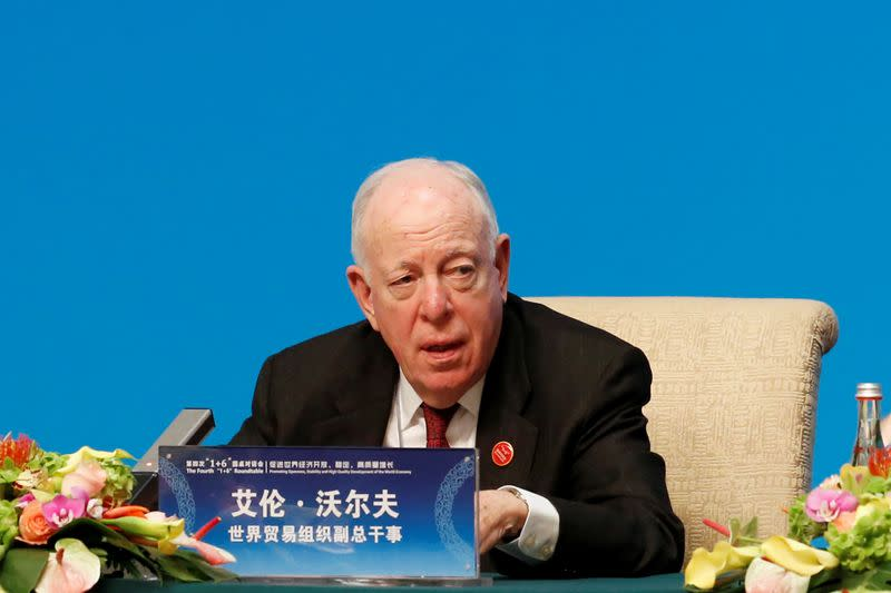 "WTO Deputy Director-General Wolff speaks at a news conference following the ""1+6"" Roundtable meeting at the Diaoyutai state guesthouse in Beijing"