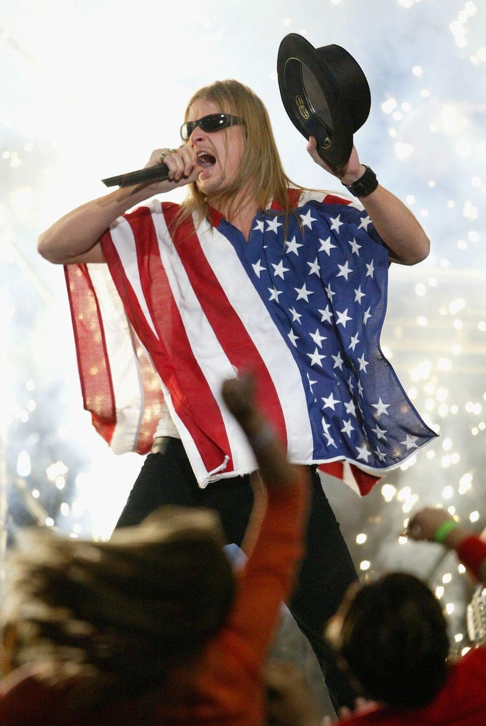 """<p>Ugh. For some reason, Kid Rock was invited to perform in 2004, and he decided to show up in an American flag poncho and bowler hat. And yes, he sang, """"Bawitdaba."""" No one was safe. </p>"""